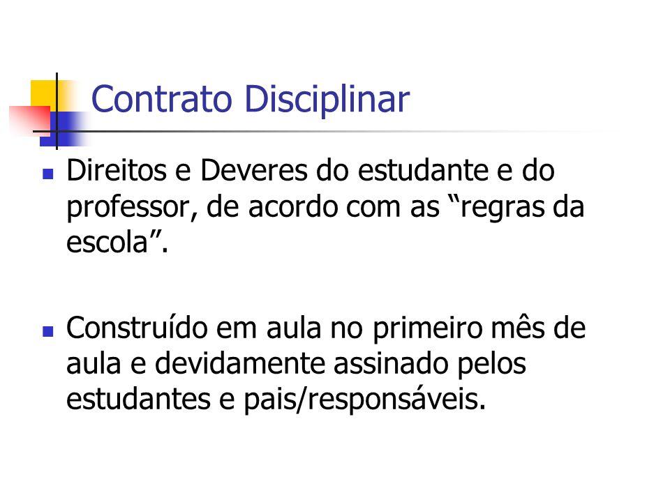 Contrato Disciplinar Direitos e Deveres do estudante e do professor, de acordo com as regras da escola .