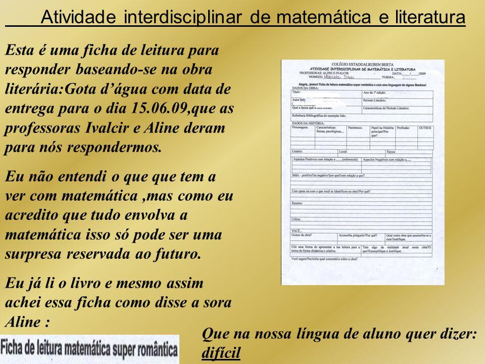Atividade interdisciplinar de matemática e literatura