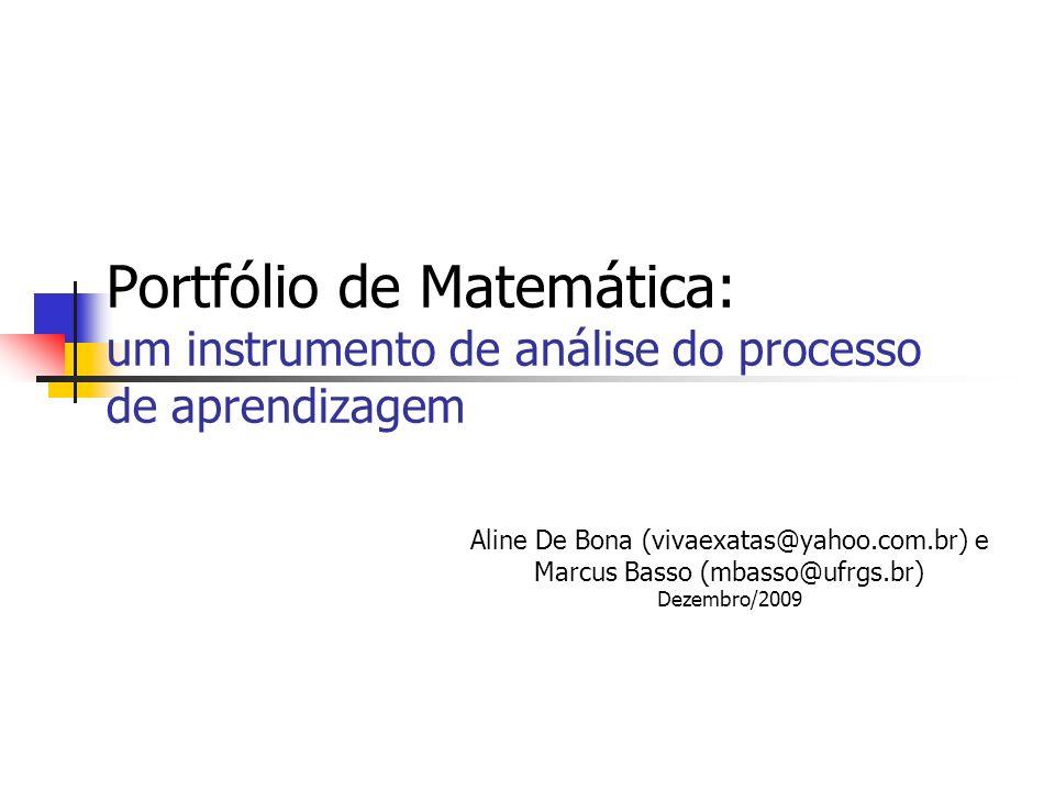 Portfólio de Matemática: um instrumento de análise do processo de aprendizagem