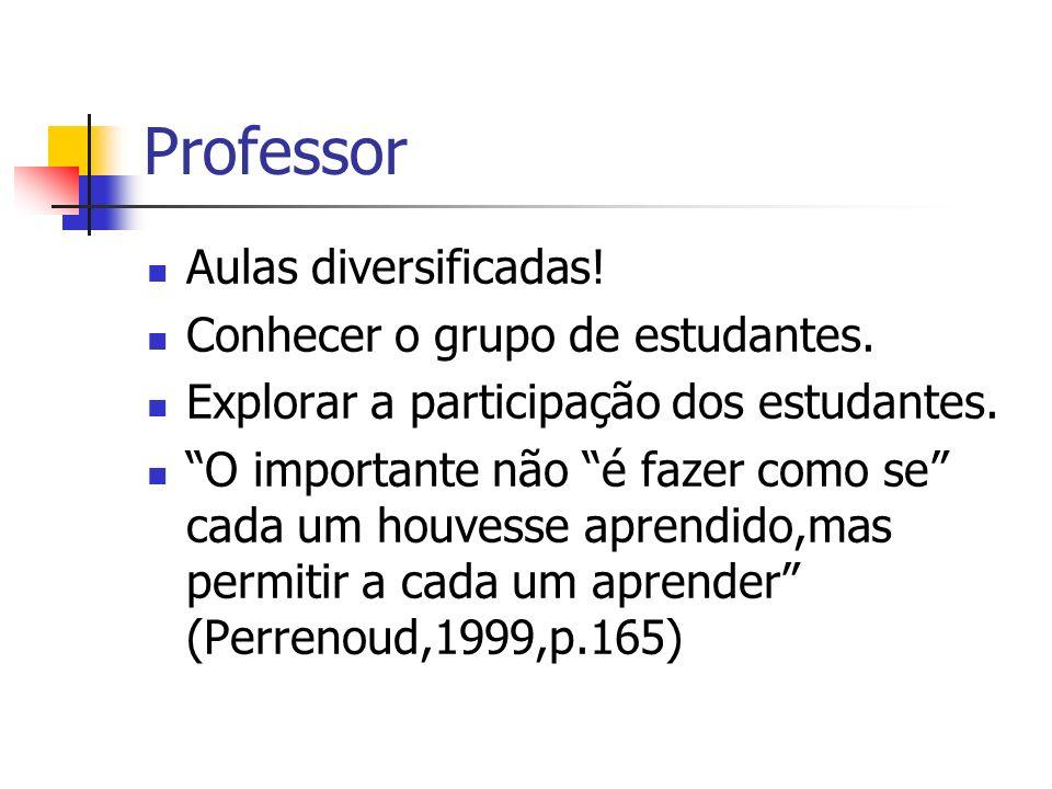 Professor Aulas diversificadas! Conhecer o grupo de estudantes.