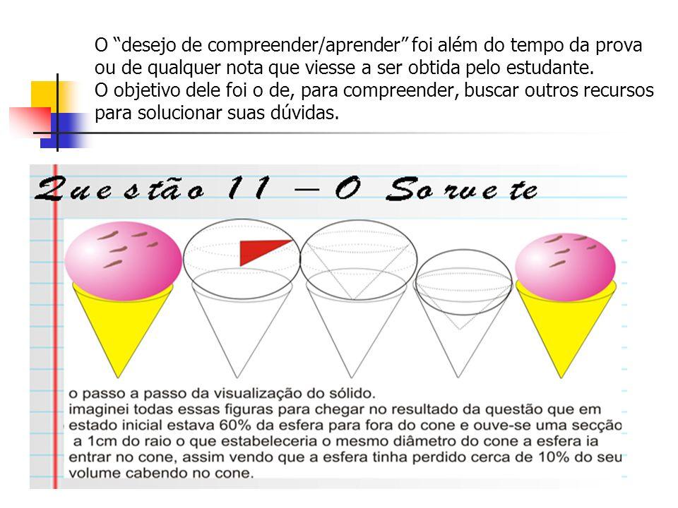 O desejo de compreender/aprender foi além do tempo da prova ou de qualquer nota que viesse a ser obtida pelo estudante.