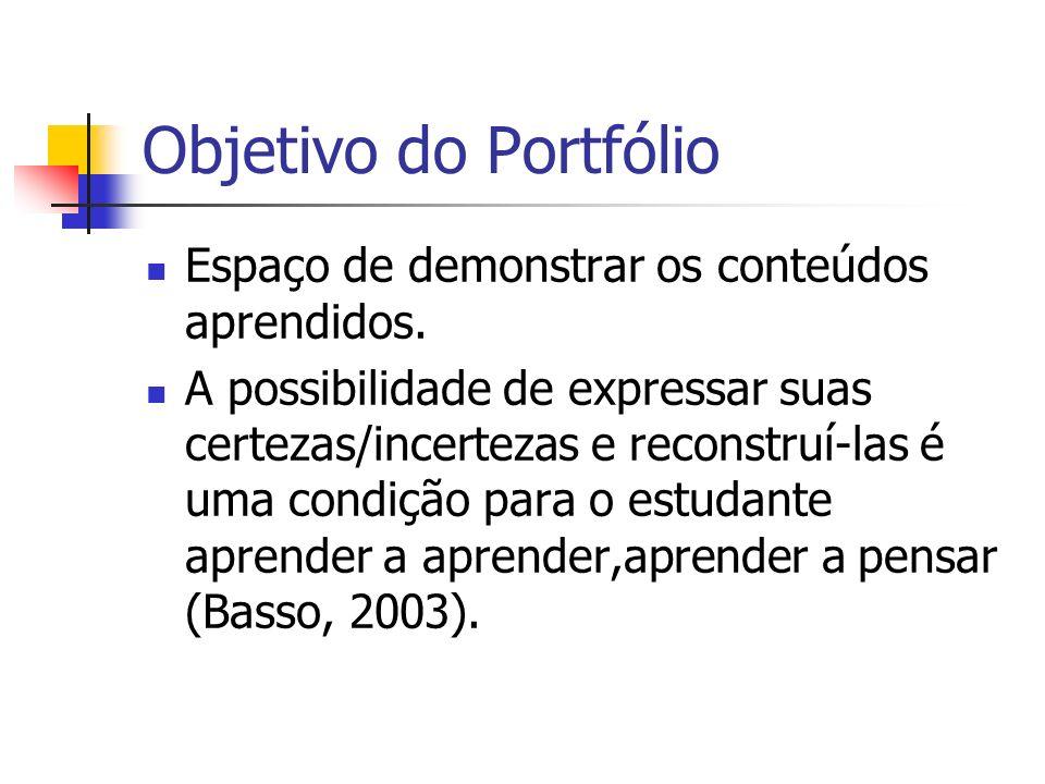 Objetivo do Portfólio Espaço de demonstrar os conteúdos aprendidos.