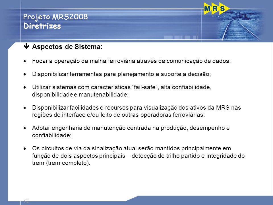 Projeto MRS2008 Diretrizes Aspectos de Sistema: Passagens de Nível