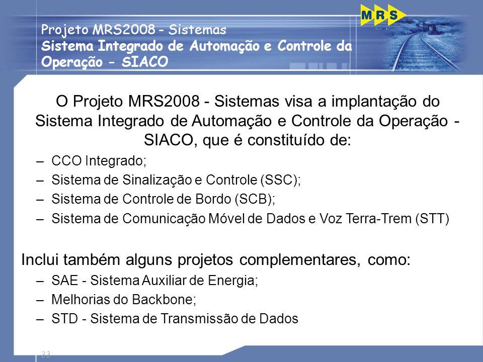O Projeto MRS2008 - Sistemas visa a implantação do