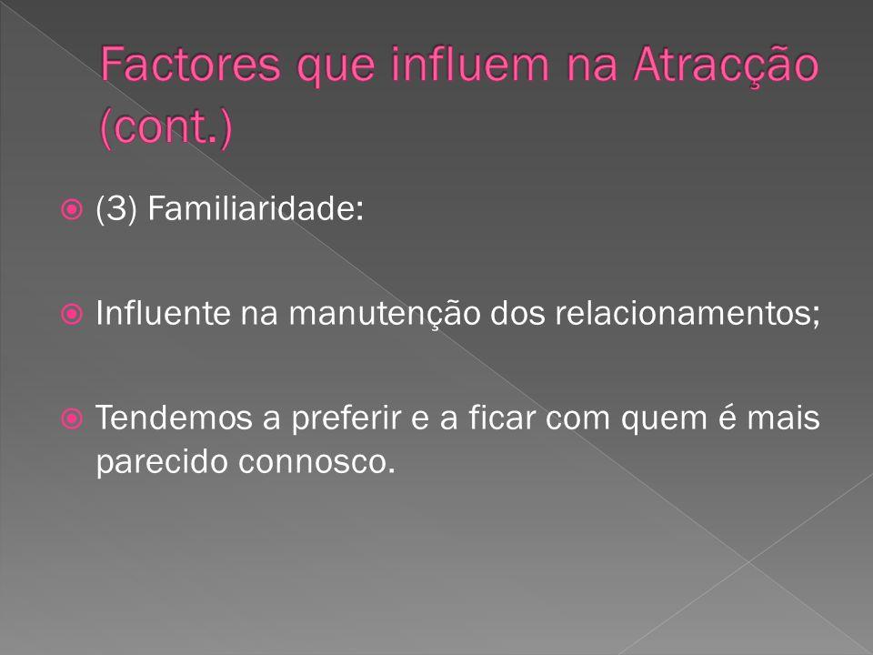 Factores que influem na Atracção (cont.)