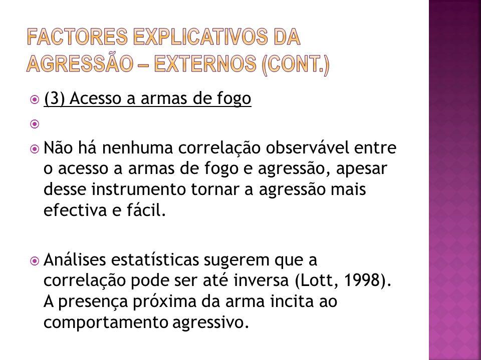 Factores explicativos da agressão – externos (cont.)