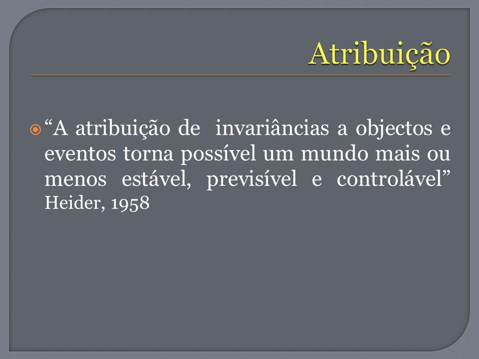 Atribuição A atribuição de invariâncias a objectos e eventos torna possível um mundo mais ou menos estável, previsível e controlável Heider, 1958.