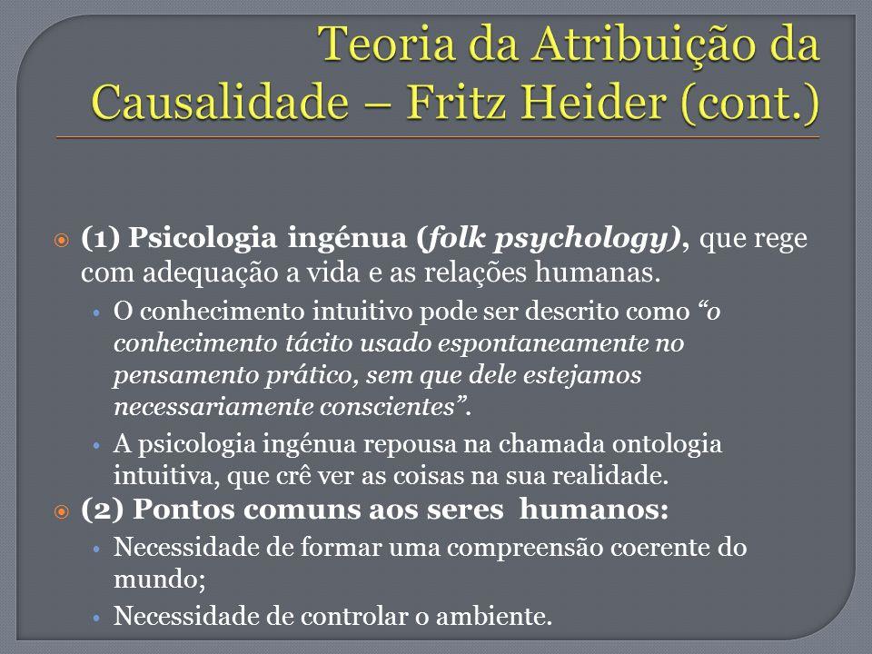 Teoria da Atribuição da Causalidade – Fritz Heider (cont.)