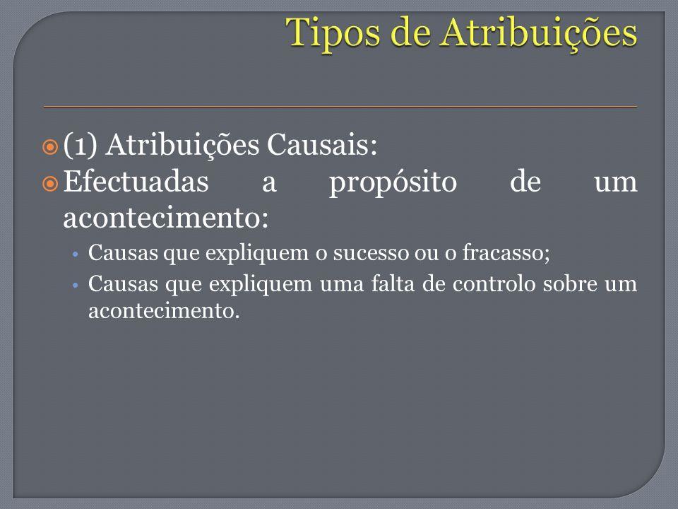 Tipos de Atribuições (1) Atribuições Causais: