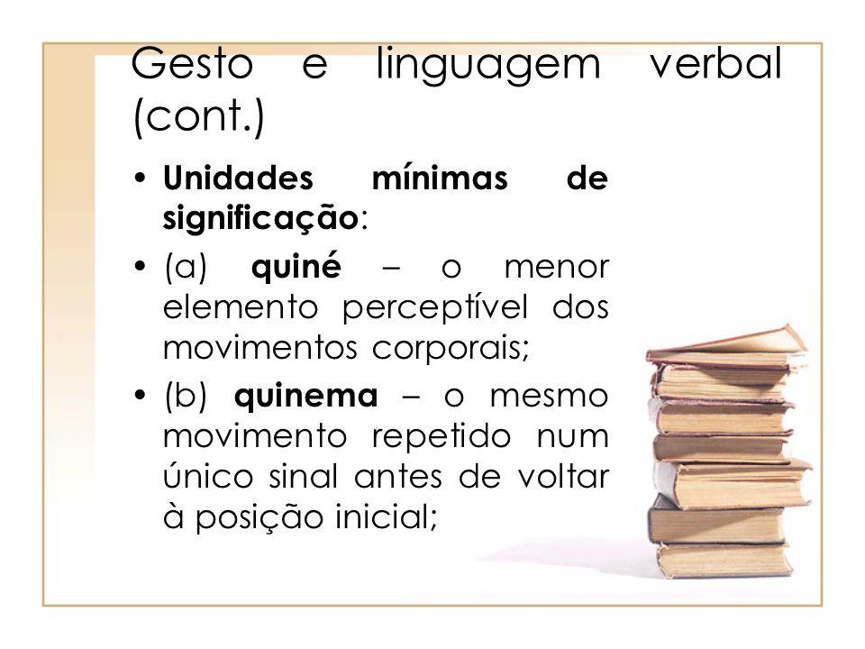 Gesto e linguagem verbal (cont.)