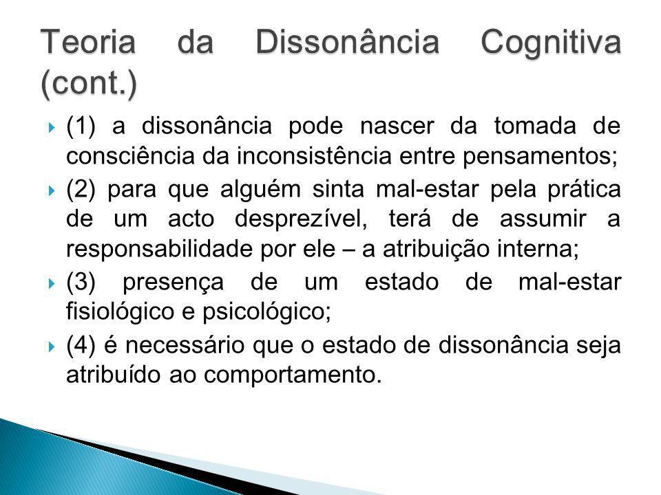 Teoria da Dissonância Cognitiva (cont.)