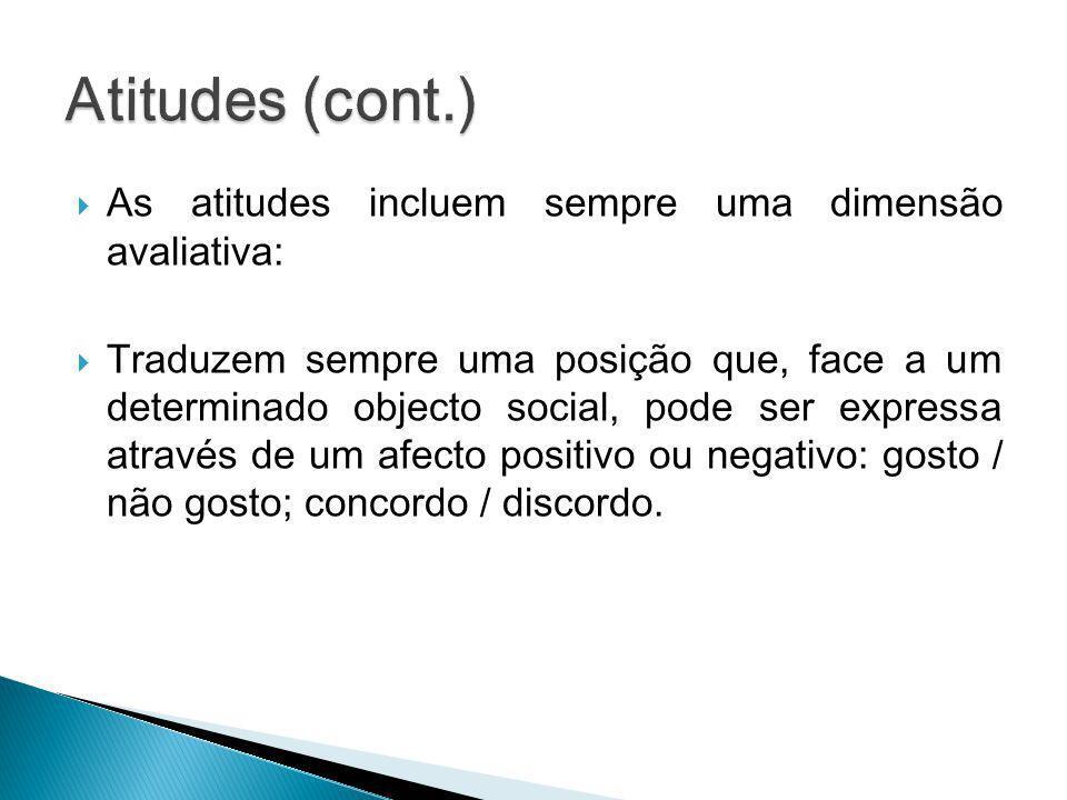 Atitudes (cont.) As atitudes incluem sempre uma dimensão avaliativa: