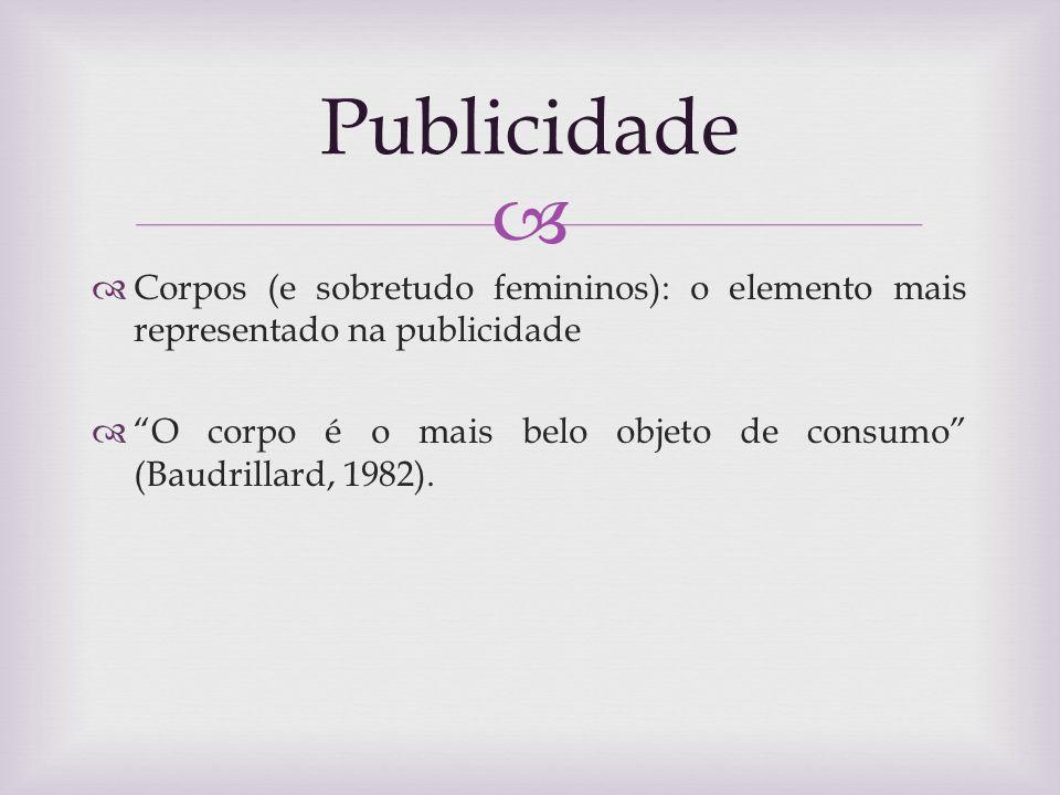 Publicidade Corpos (e sobretudo femininos): o elemento mais representado na publicidade.
