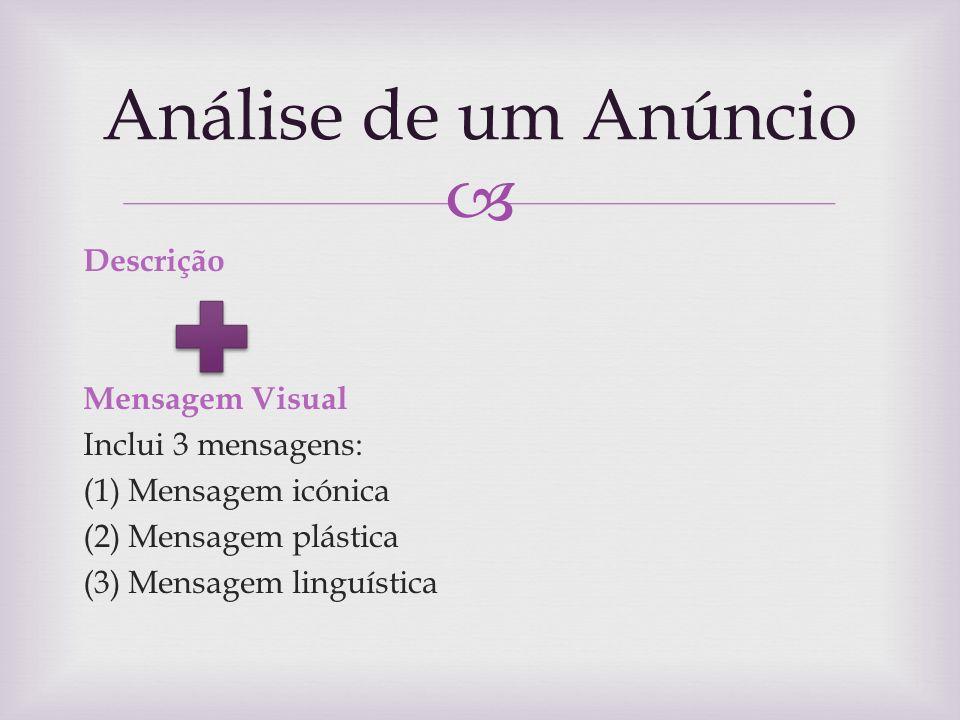 Análise de um Anúncio Descrição Mensagem Visual Inclui 3 mensagens: (1) Mensagem icónica (2) Mensagem plástica (3) Mensagem linguística