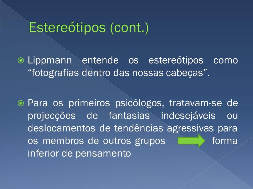 Estereótipos (cont.) Lippmann entende os estereótipos como fotografias dentro das nossas cabeças .