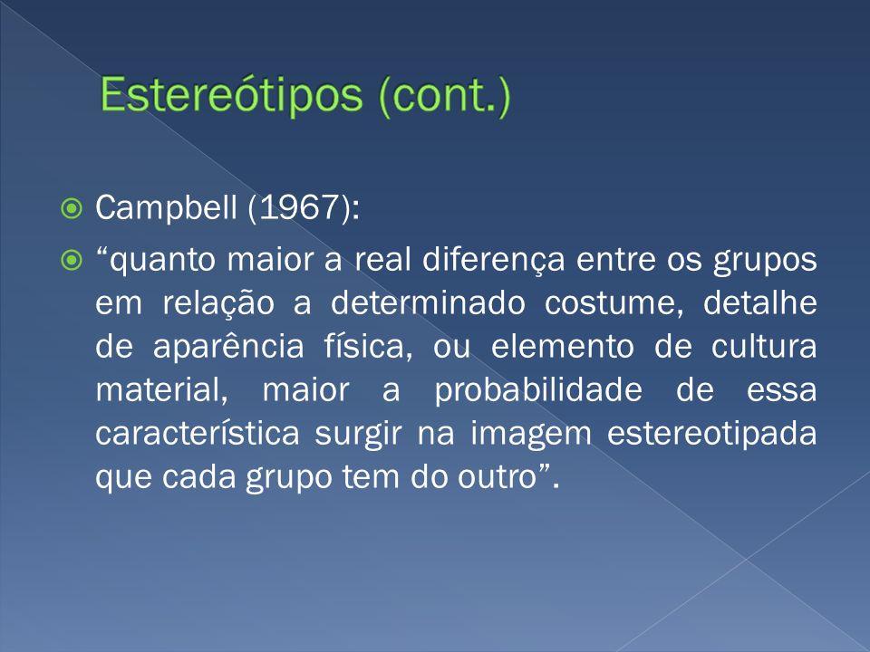 Estereótipos (cont.) Campbell (1967):
