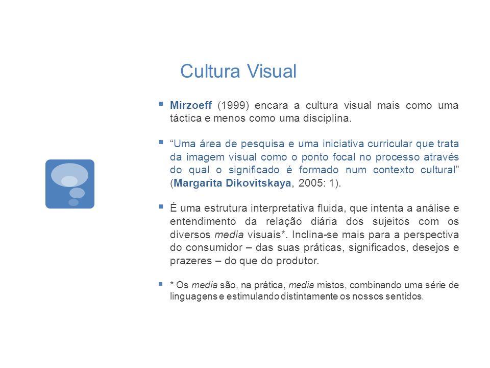 Cultura Visual Mirzoeff (1999) encara a cultura visual mais como uma táctica e menos como uma disciplina.