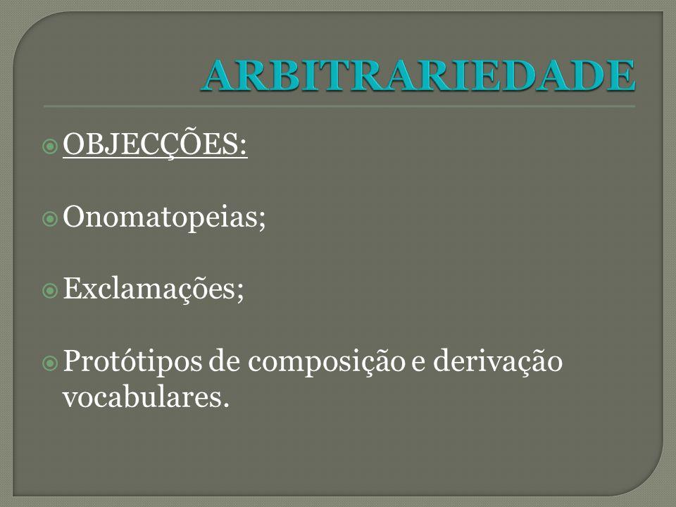 ARBITRARIEDADE OBJECÇÕES: Onomatopeias; Exclamações;