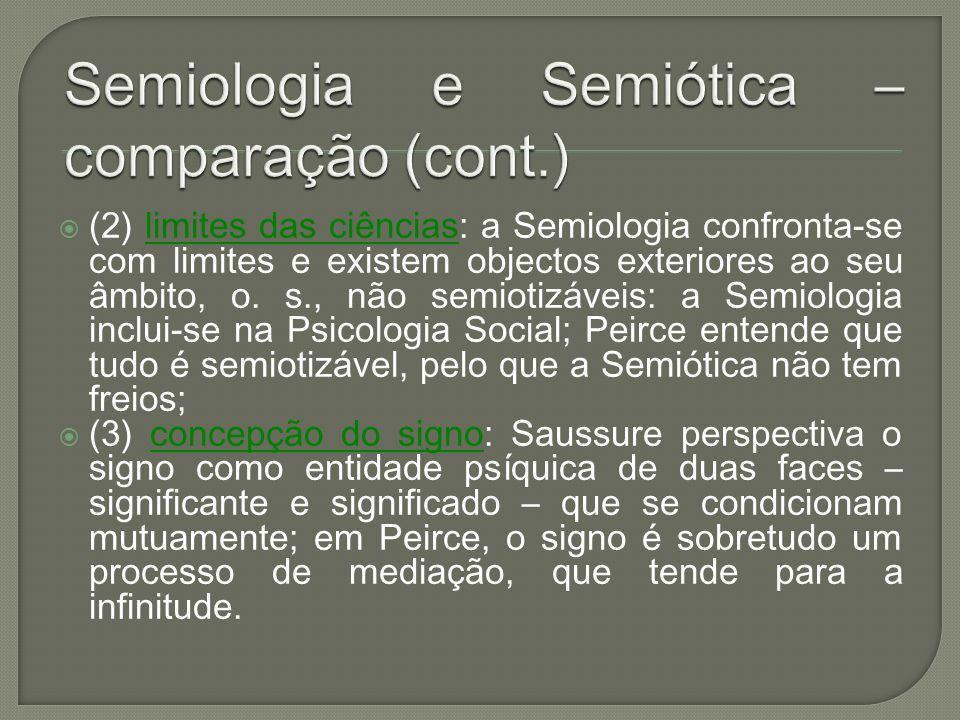 Semiologia e Semiótica – comparação (cont.)