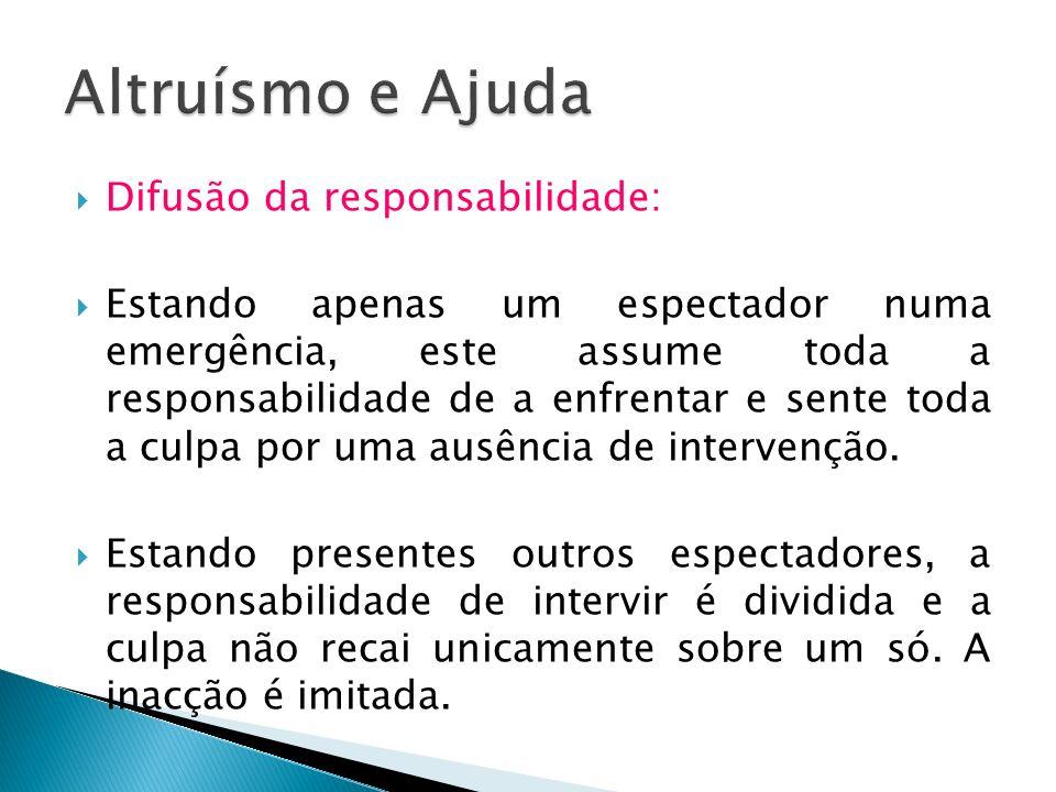 Altruísmo e Ajuda Difusão da responsabilidade: