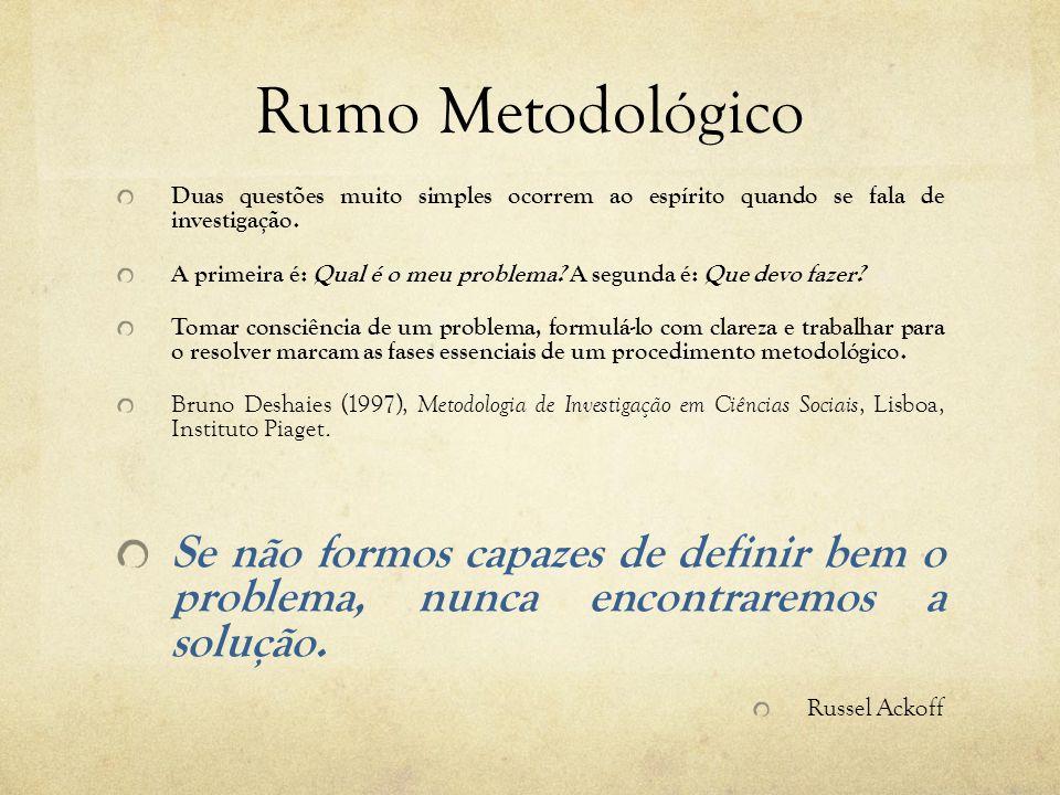 Rumo Metodológico Duas questões muito simples ocorrem ao espírito quando se fala de investigação.