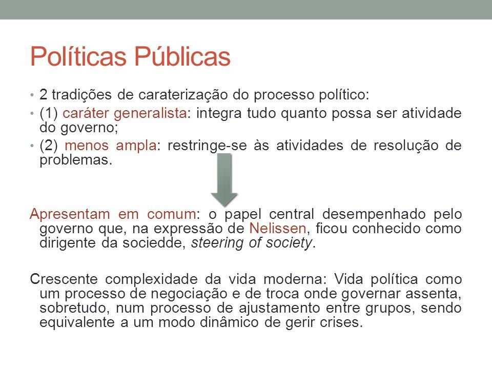 Políticas Públicas 2 tradições de caraterização do processo político: