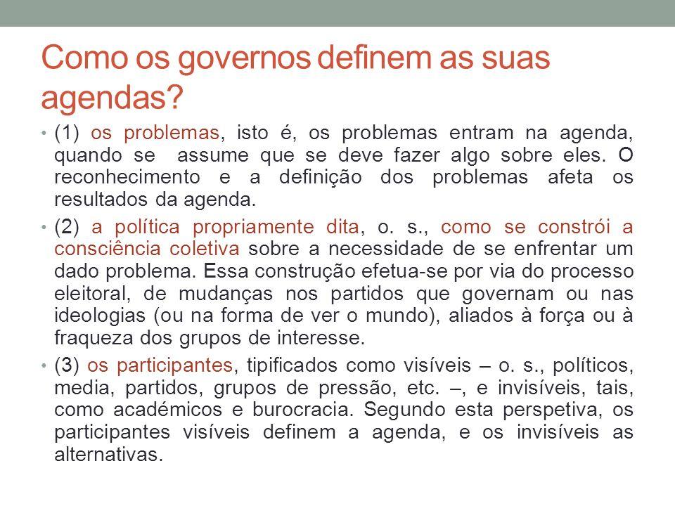 Como os governos definem as suas agendas