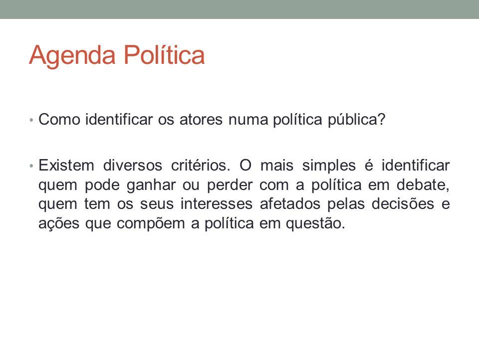 Agenda Política Como identificar os atores numa política pública