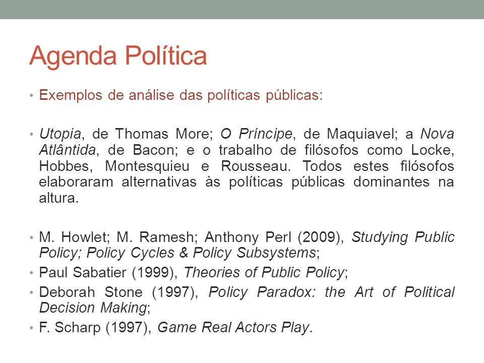 Agenda Política Exemplos de análise das políticas públicas: