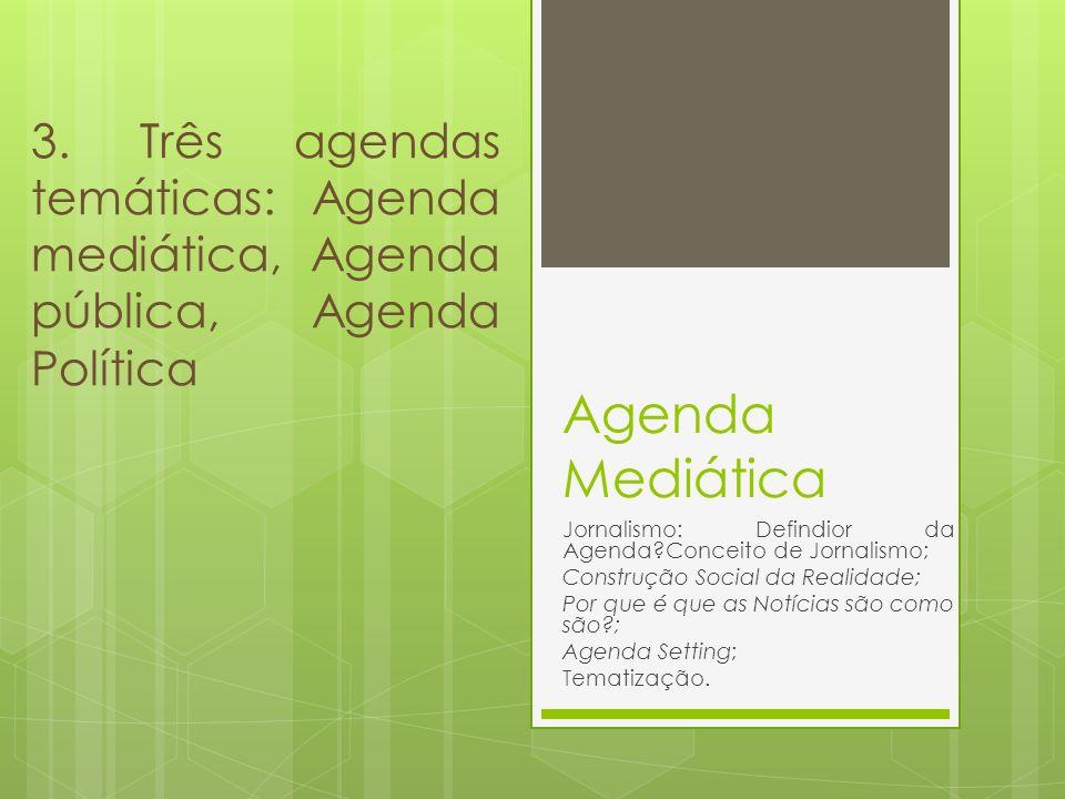 3. Três agendas temáticas: Agenda mediática, Agenda pública, Agenda Política
