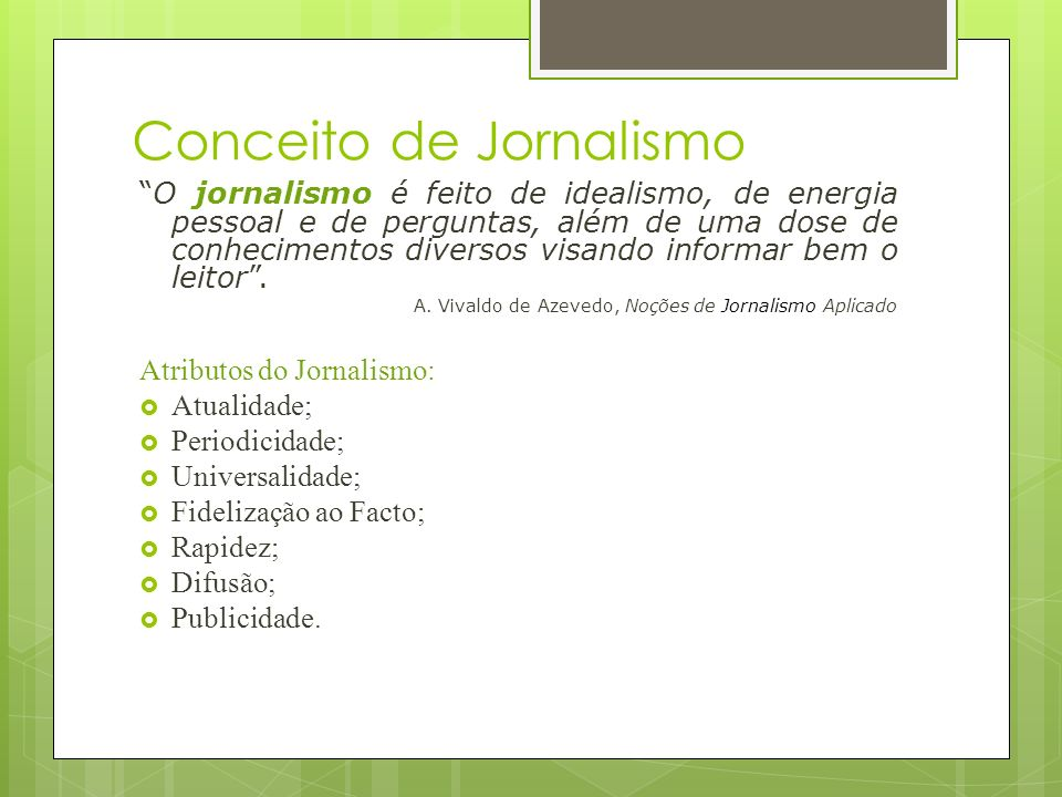 Conceito de Jornalismo