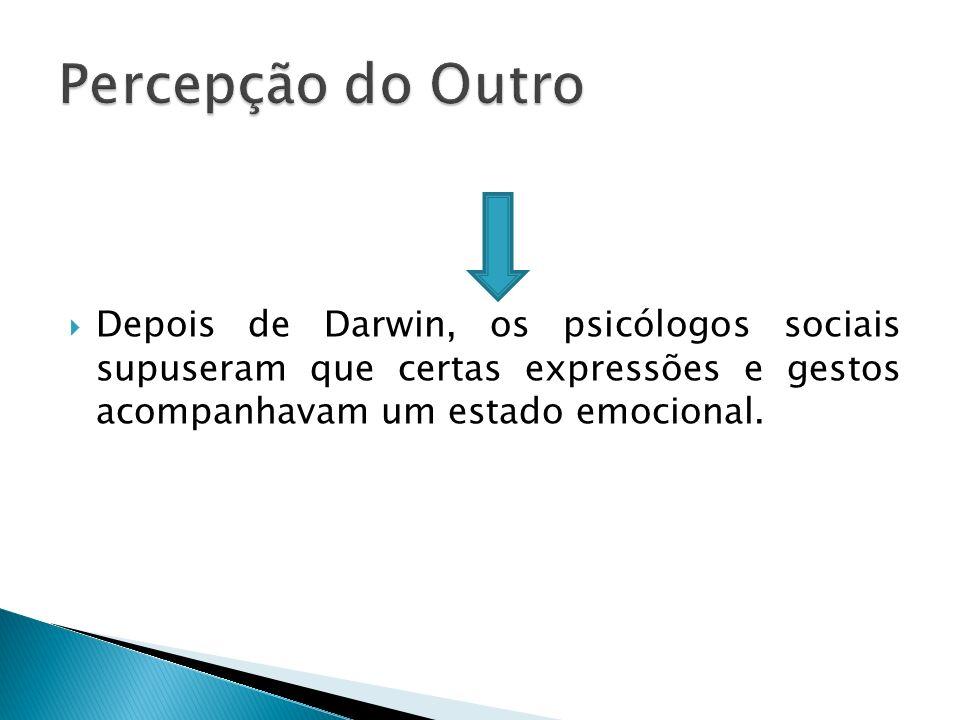 Percepção do Outro Depois de Darwin, os psicólogos sociais supuseram que certas expressões e gestos acompanhavam um estado emocional.