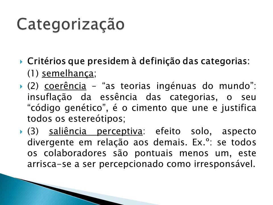 Categorização Critérios que presidem à definição das categorias: