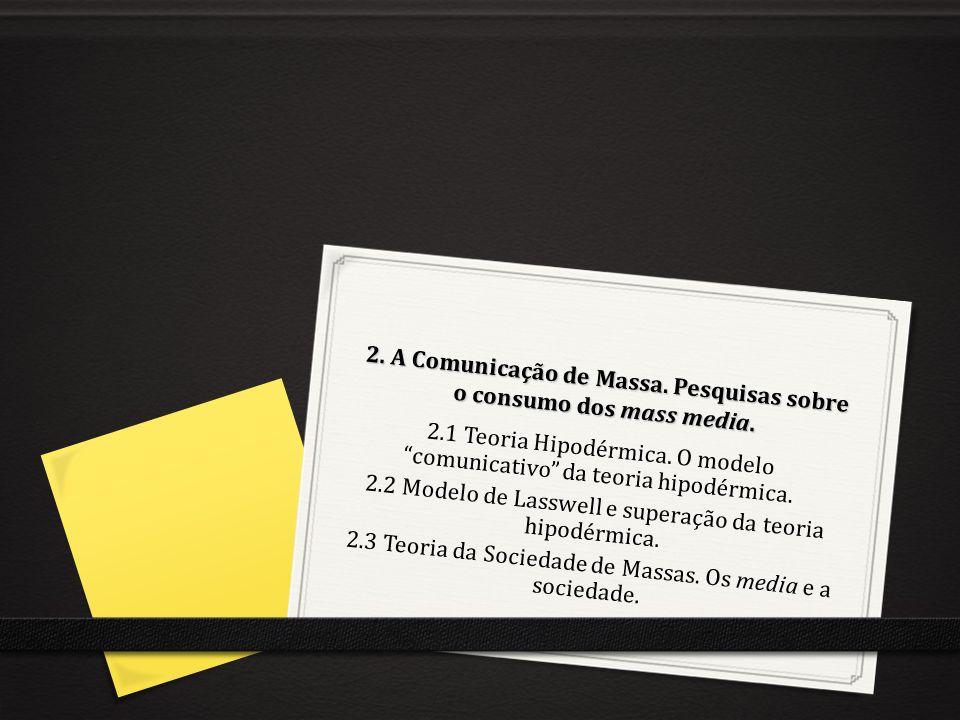2. A Comunicação de Massa. Pesquisas sobre o consumo dos mass media.