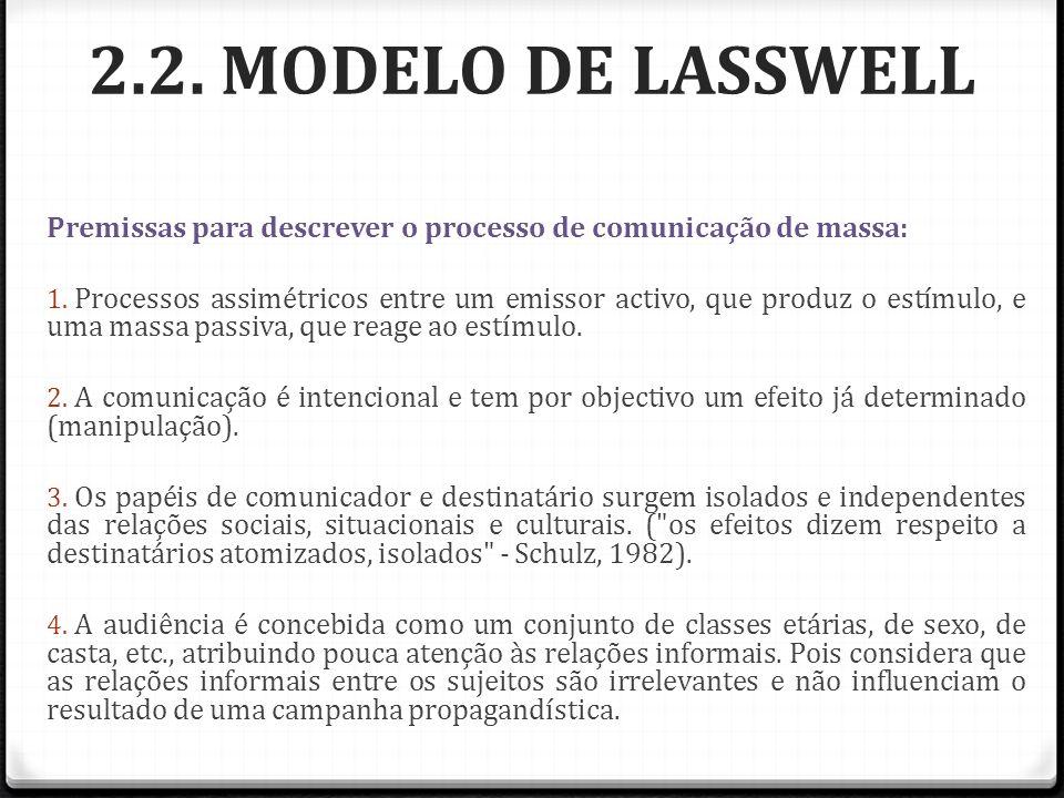 2.2. MODELO DE LASSWELL Premissas para descrever o processo de comunicação de massa: