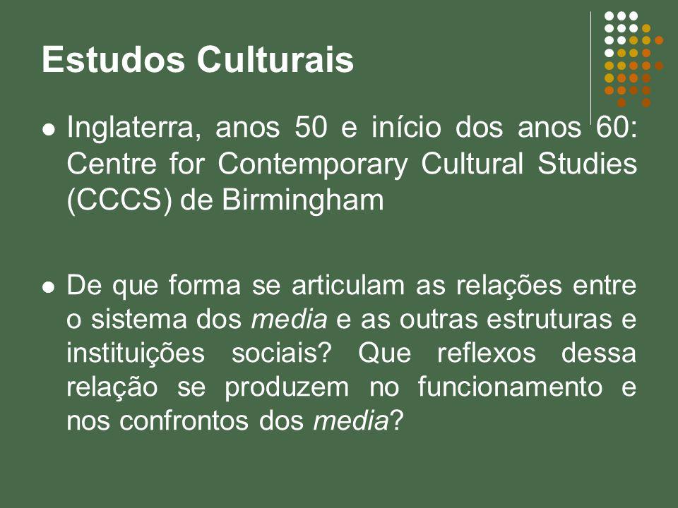 Estudos Culturais Inglaterra, anos 50 e início dos anos 60: Centre for Contemporary Cultural Studies (CCCS) de Birmingham.