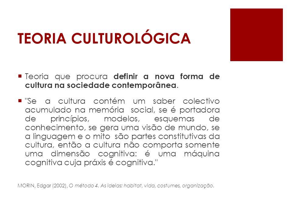 TEORIA CULTUROLÓGICA Teoria que procura definir a nova forma de cultura na sociedade contemporânea.