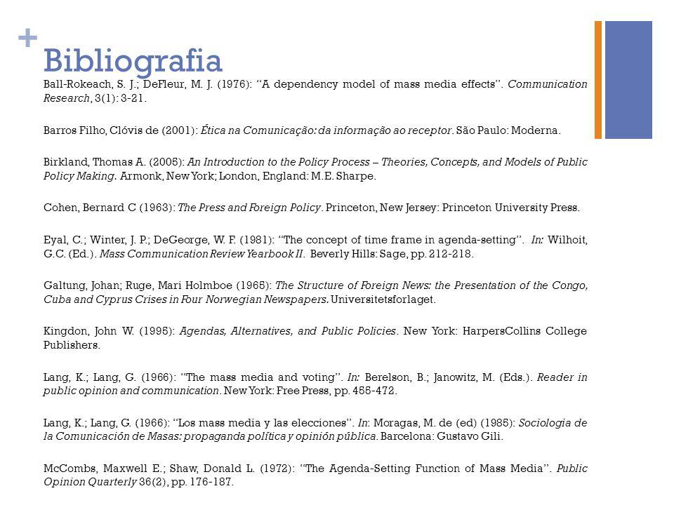 BibliografiaBall-Rokeach, S. J.; DeFleur, M. J. (1976): A dependency model of mass media effects . Communication Research, 3(1): 3-21.