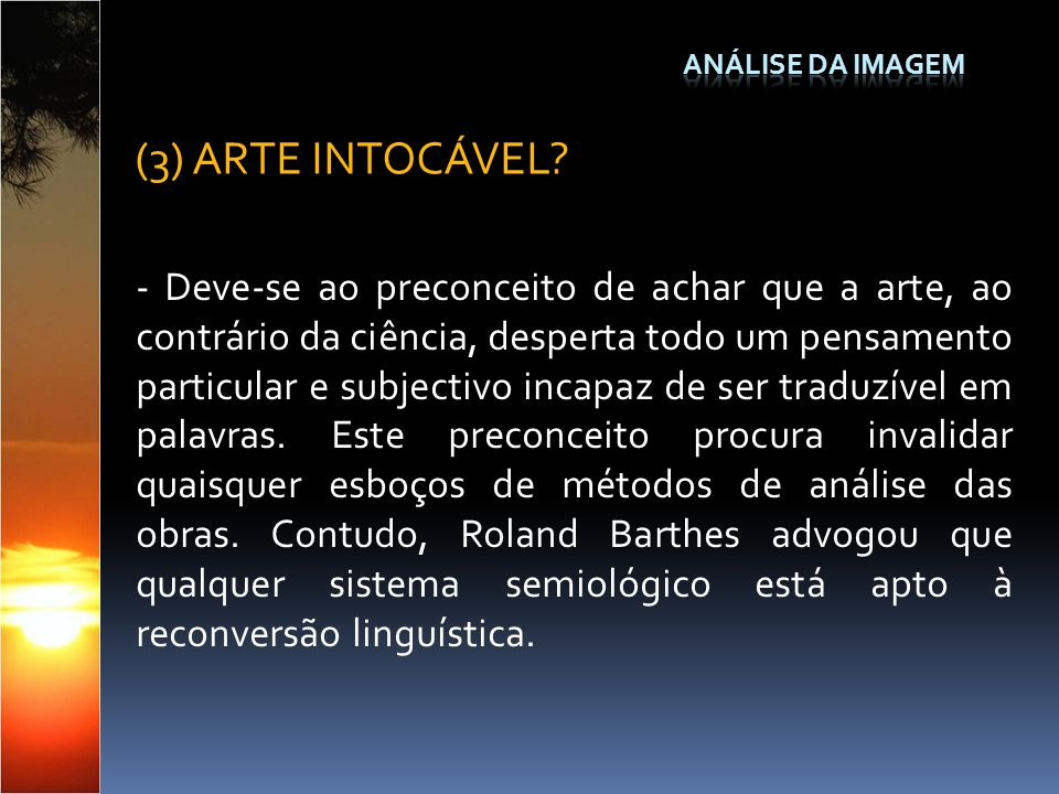 Análise da Imagem (3) ARTE INTOCÁVEL