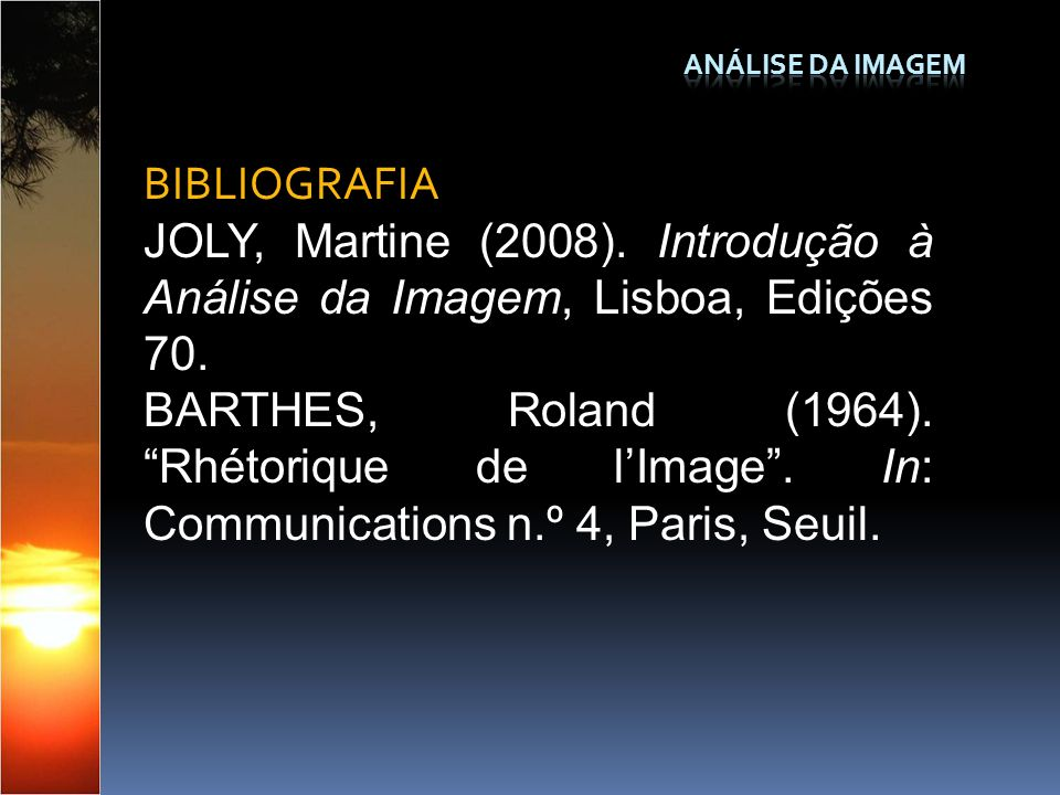 Análise da Imagem BIBLIOGRAFIA. JOLY, Martine (2008). Introdução à Análise da Imagem, Lisboa, Edições 70.