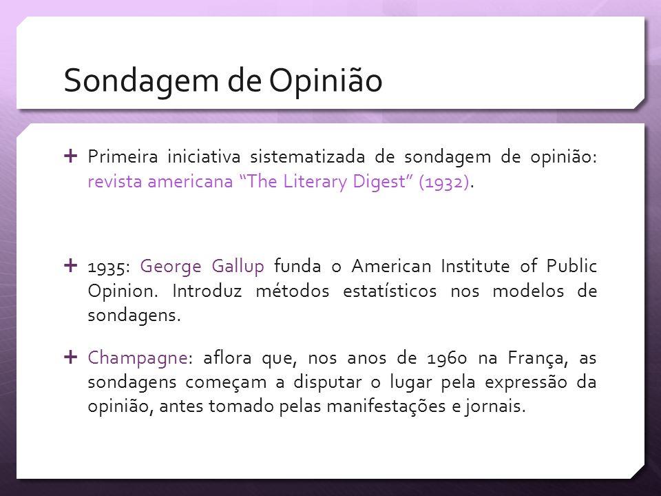 Sondagem de Opinião Primeira iniciativa sistematizada de sondagem de opinião: revista americana The Literary Digest (1932).