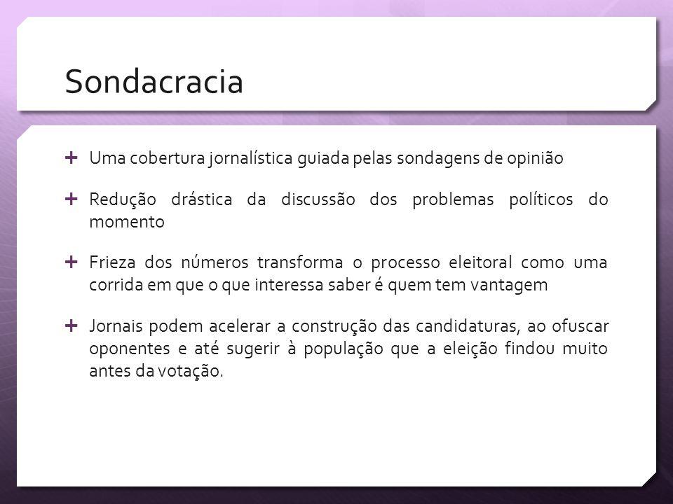Sondacracia Uma cobertura jornalística guiada pelas sondagens de opinião. Redução drástica da discussão dos problemas políticos do momento.
