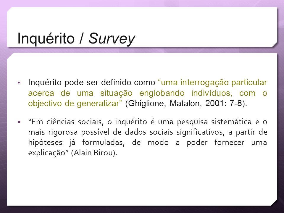 Inquérito / Survey