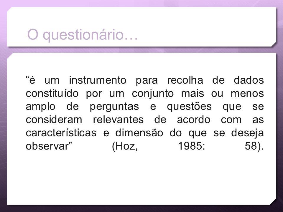 O questionário…