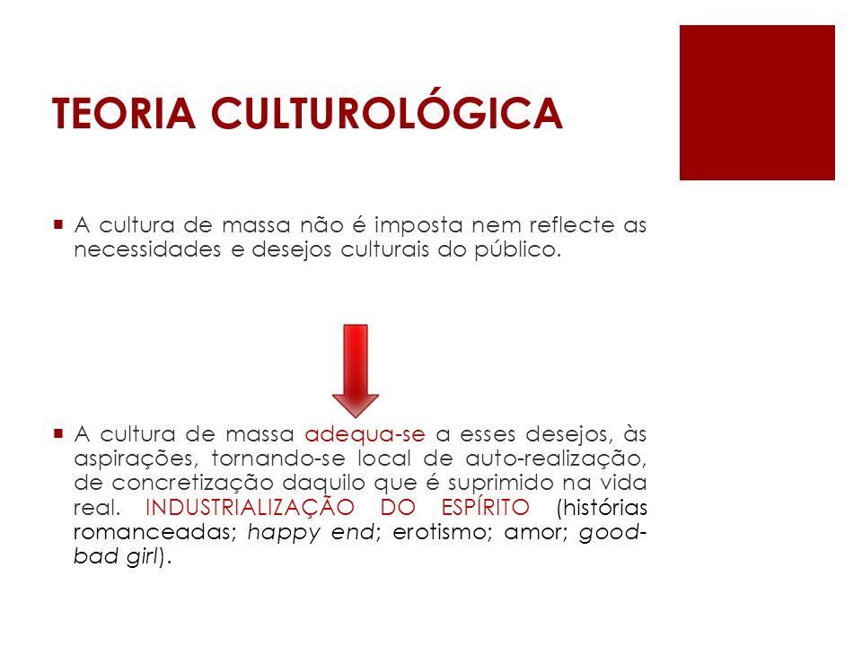 TEORIA CULTUROLÓGICAA cultura de massa não é imposta nem reflecte as necessidades e desejos culturais do público.
