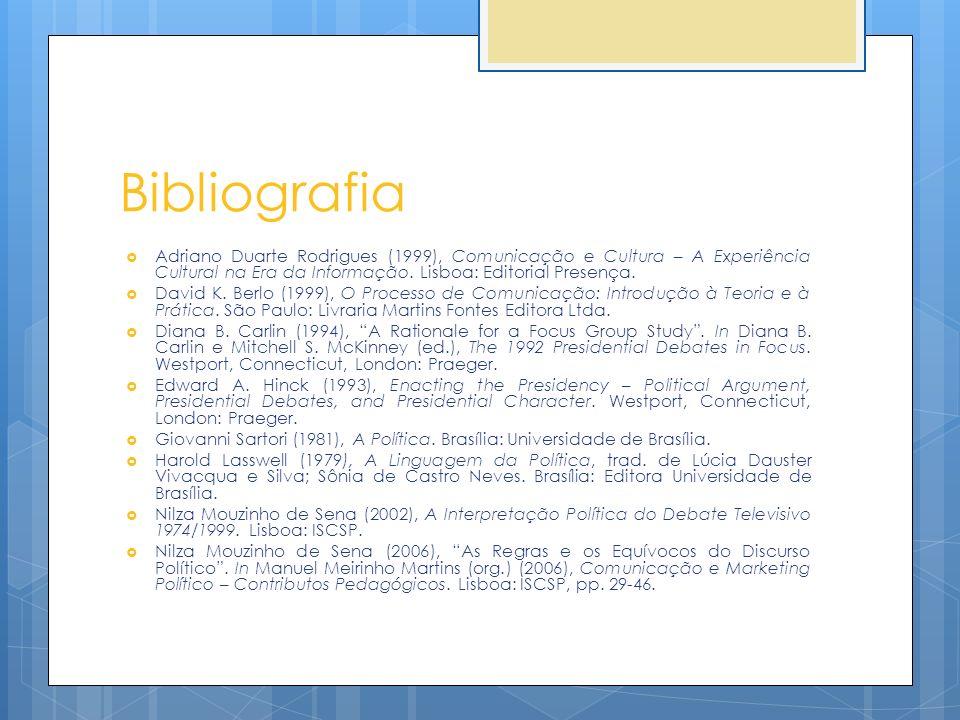 Bibliografia Adriano Duarte Rodrigues (1999), Comunicação e Cultura – A Experiência Cultural na Era da Informação. Lisboa: Editorial Presença.