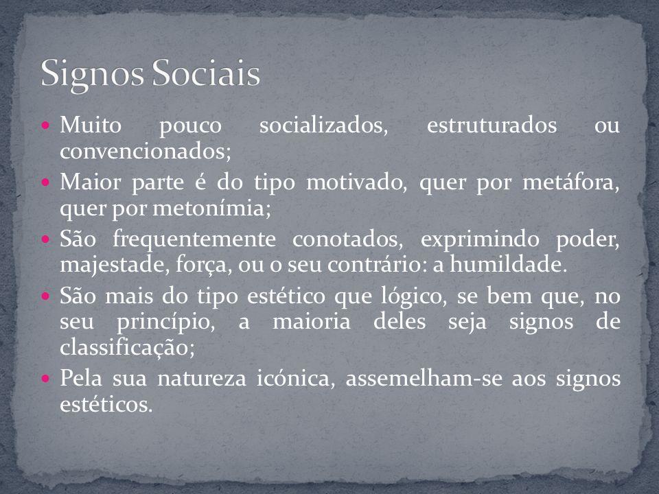 Signos Sociais Muito pouco socializados, estruturados ou convencionados; Maior parte é do tipo motivado, quer por metáfora, quer por metonímia;