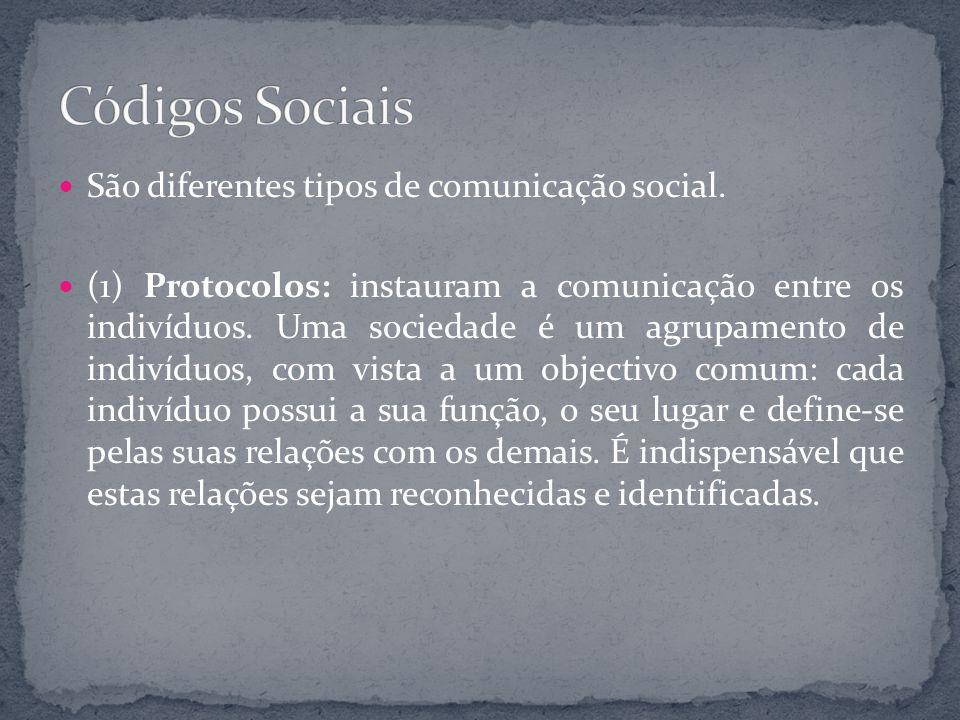 Códigos Sociais São diferentes tipos de comunicação social.
