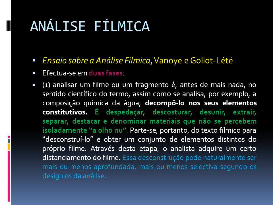 ANÁLISE FÍLMICA Ensaio sobre a Análise Fílmica, Vanoye e Goliot-Lété