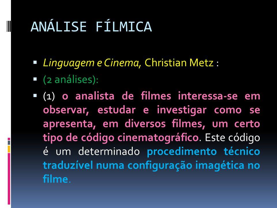ANÁLISE FÍLMICA Linguagem e Cinema, Christian Metz : (2 análises):